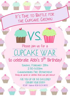 cupcake photo birthday invitations ; d07b8cf07297da5ad357284081629cff--cupcake-war-birthday-party-th-birthday