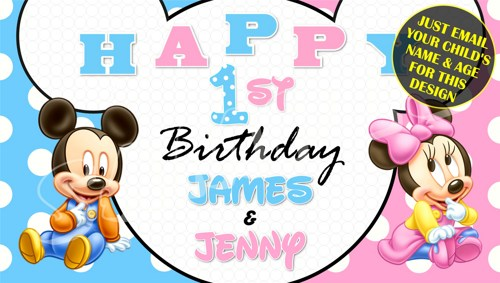custom minnie mouse birthday banner ; baby_mickey_baby_minnie_mouse_twin_personalized_custom_birthday_banner_e7a41a11
