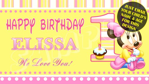 custom minnie mouse birthday banner ; baby_minnie_mouse_1st_birthday_custom_banner_bc39a788