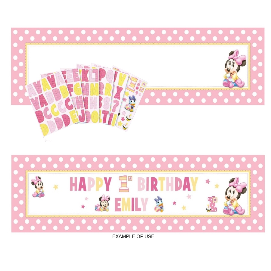 custom minnie mouse birthday banner ; minnie-mouse-1st-birthday-party-supplies-personalise-banner