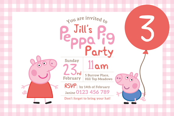 custom photo birthday party invitations ; 4_36a3a608dffa452ea4fdb13a7b0ee1f0Peppa-Pig--6x4----front-L-PINK