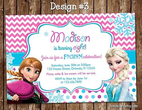 custom photo birthday party invitations ; frozen-anna-elsa-olaf-birthday-party-photo-invitations-chevron-custom-birthday-party-invitations