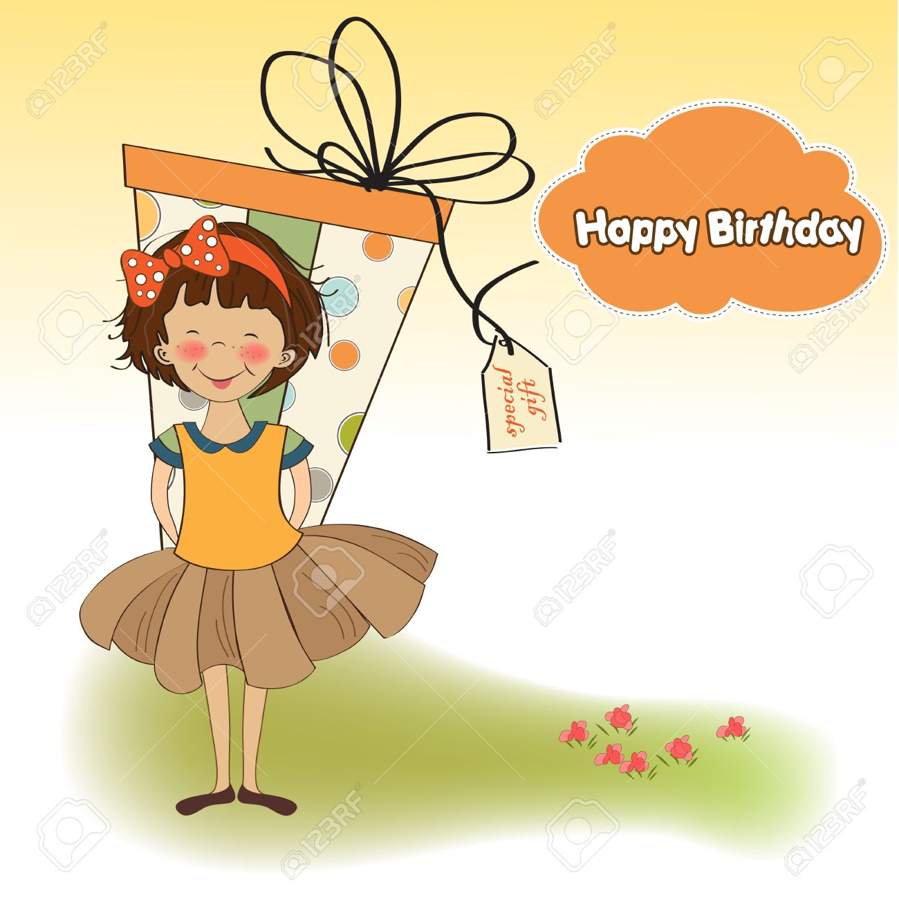 cute birthday greeting cards ; 11842084-cute-little-girl-hidden-behind-boxes-of-gifts-happy-birthday-greeting-card