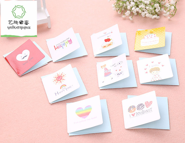 cute birthday greeting cards ; 168pcs-lot-cute-small-birthday-cards-kids-small-happy-birthday-greeting-cards-with-envelopes