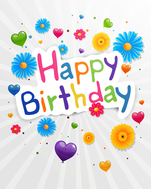 cute birthday greeting cards ; Cute-flower-with-Happy-birthday-greeting-cards-vector-03