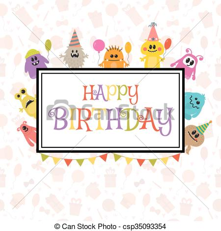 cute birthday greeting cards ; happy-birthday-greeting-card-with-funny-clipart-vector_csp35093354