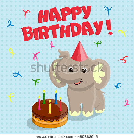 cute birthday greeting cards ; stock-vector-happy-birthday-greeting-card-with-the-funny-cute-elephant-and-the-chocolate-cake-vector-480883945