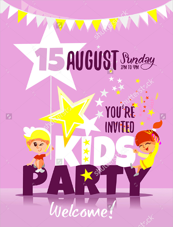 design birthday party invitations ; Kids-Party-Invitation-Design-Template