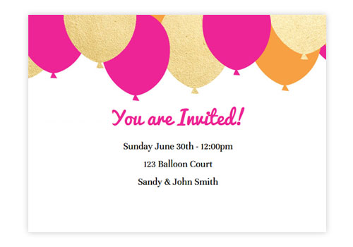 design birthday party invitations ; balloons-pink