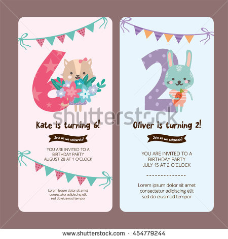 design birthday party invitations ; stock-vector-set-of-greeting-card-design-with-cute-cat-and-rabbit-happy-birthday-invitation-template-for-six-454779244