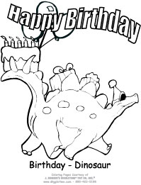 dinosaur birthday coloring pages ; BirthDinosaur3