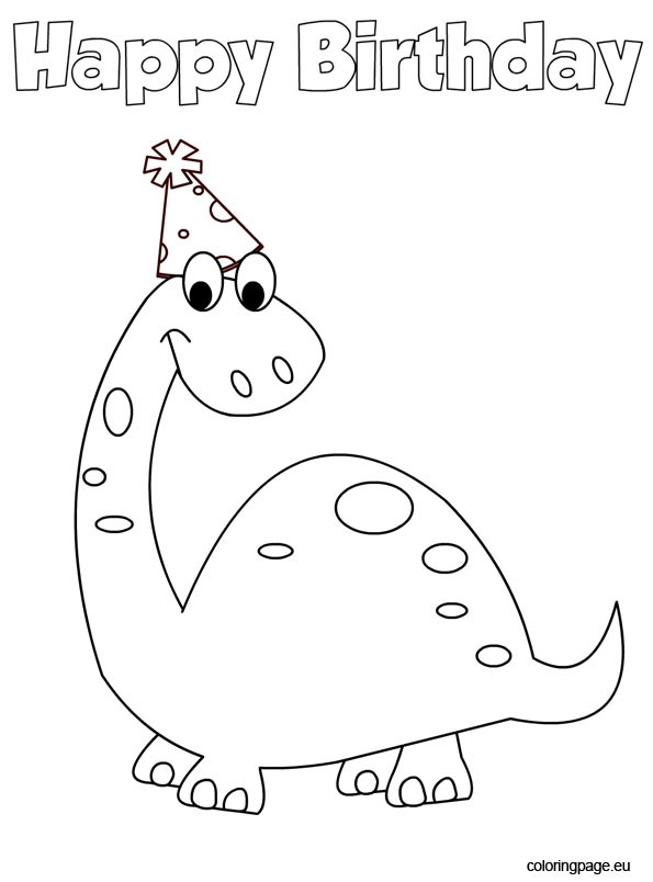 dinosaur birthday coloring pages ; dinosaur-birthday-2
