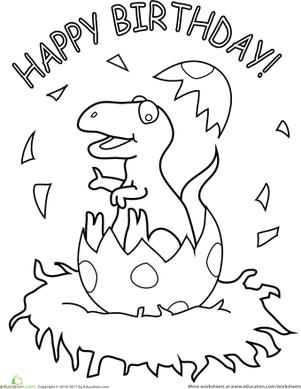 dinosaur birthday coloring pages ; happy-birthday-coloring-pages-education-com-antique-cute-8