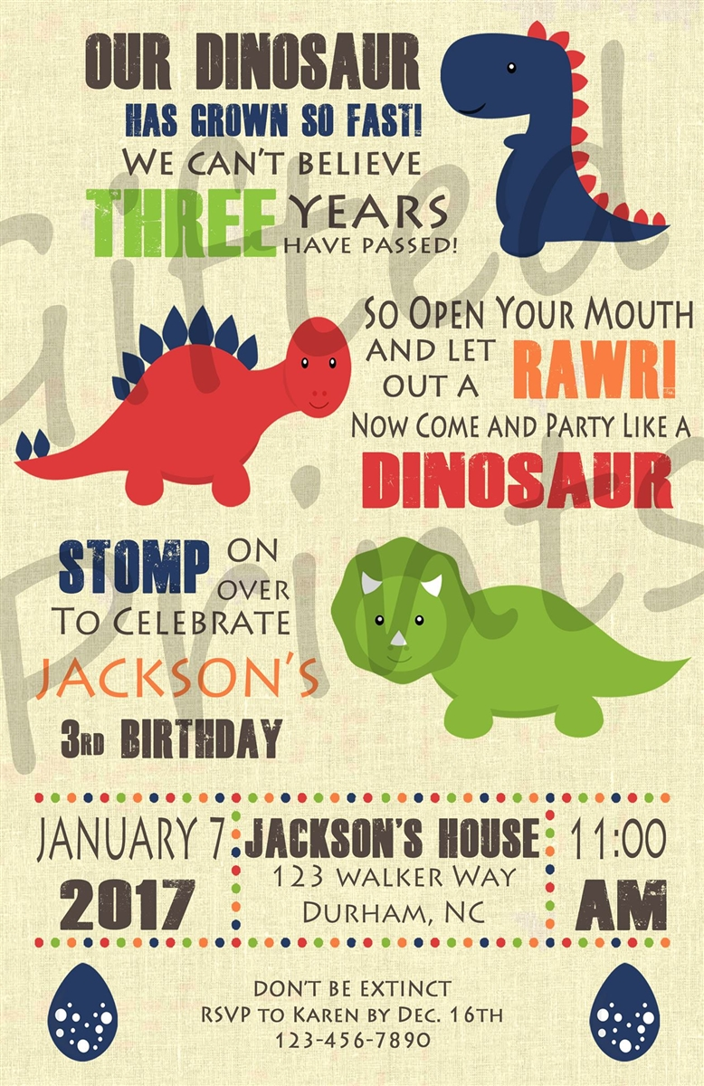 dinosaur birthday invitations with photo ; 0643-DINOSAUR-NO-PICTURE-2