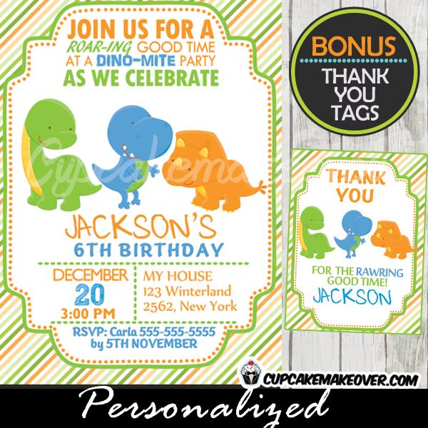 dinosaur birthday invitations with photo ; 270-Lil-Dinos-Dinosaur-Birthday-Invitation-2