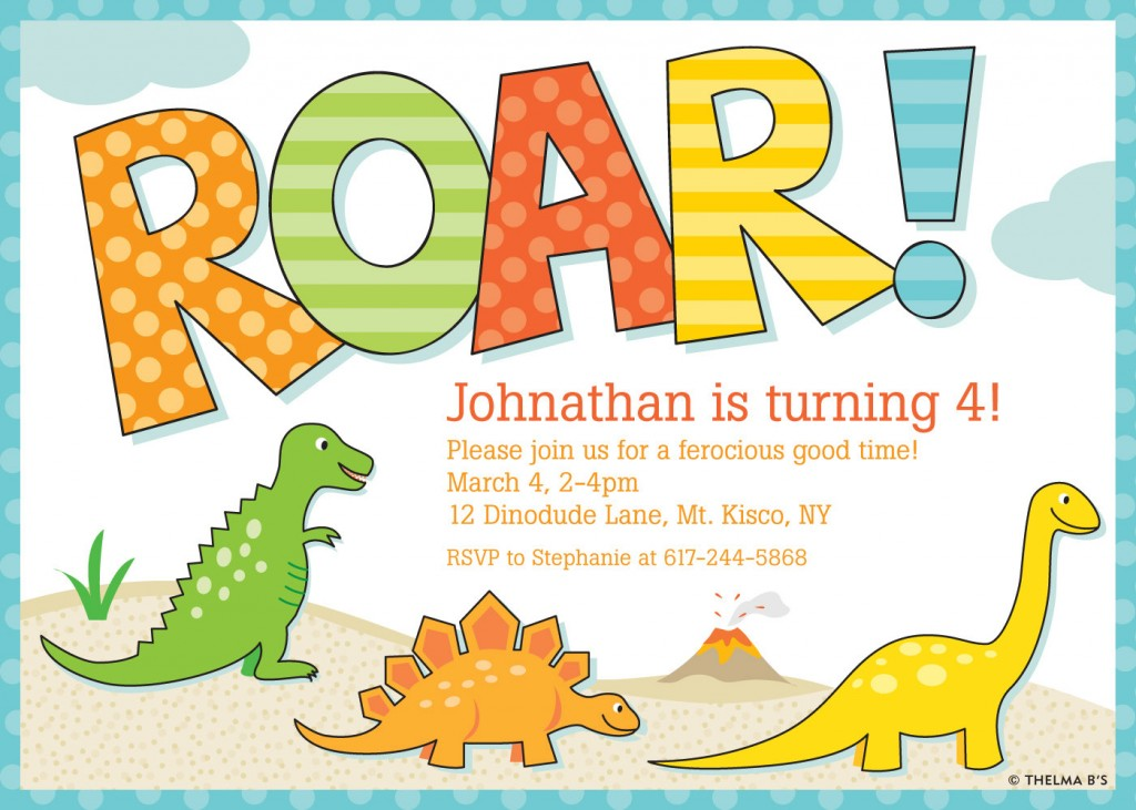 dinosaur birthday invitations with photo ; Roar-Dinosaur-Birthday-Party-Invitations-1024x731