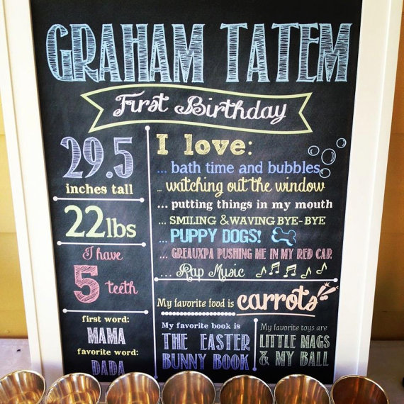 diy first birthday chalkboard poster ; 26fad0cd877fe797e662f7148b80a5e0