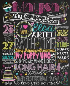diy first birthday chalkboard poster ; c9ff6a0bb38957b6b35d472c468782ea