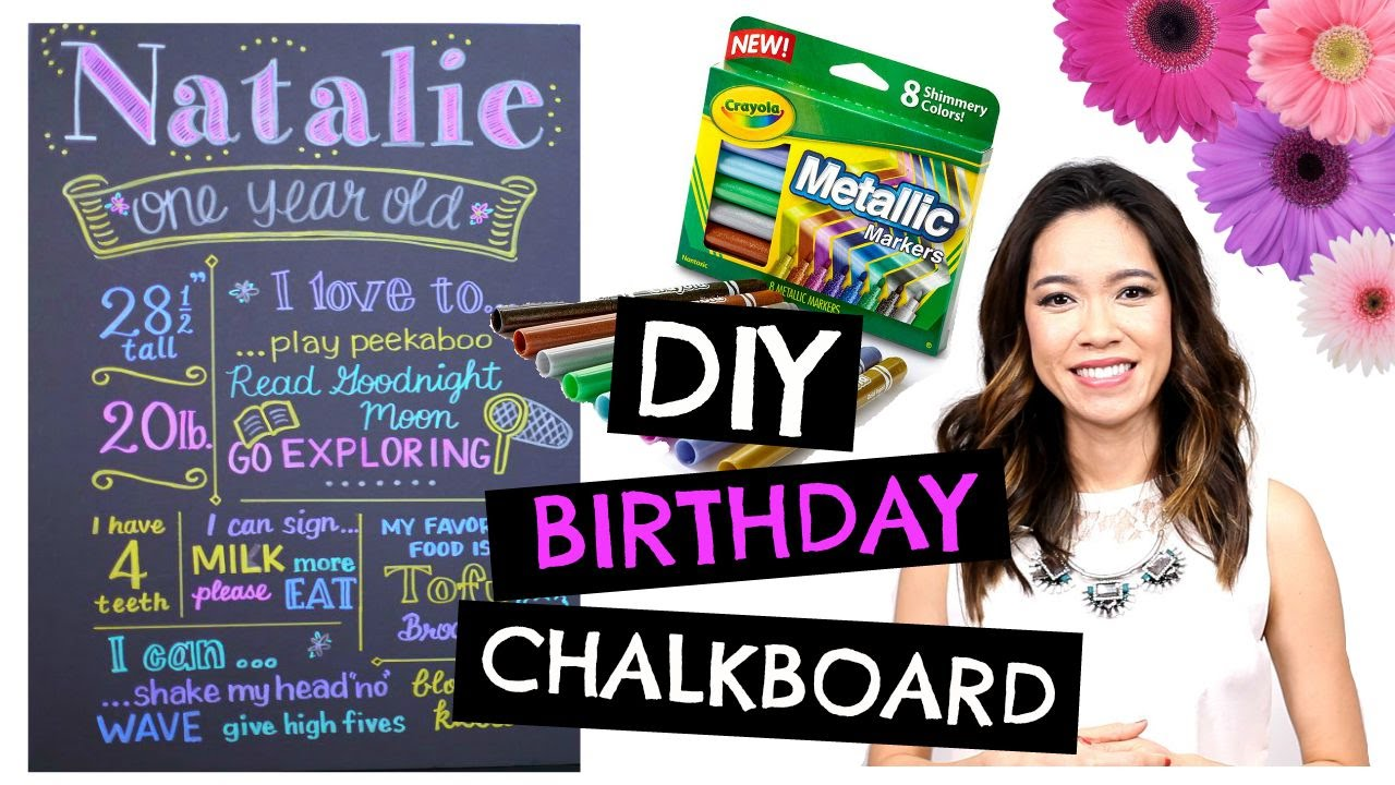 diy first birthday chalkboard poster ; maxresdefault