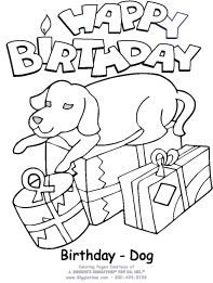 dog birthday coloring pages ; BirthDog5