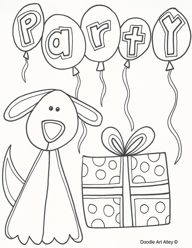 dog birthday coloring pages ; partydog_orig