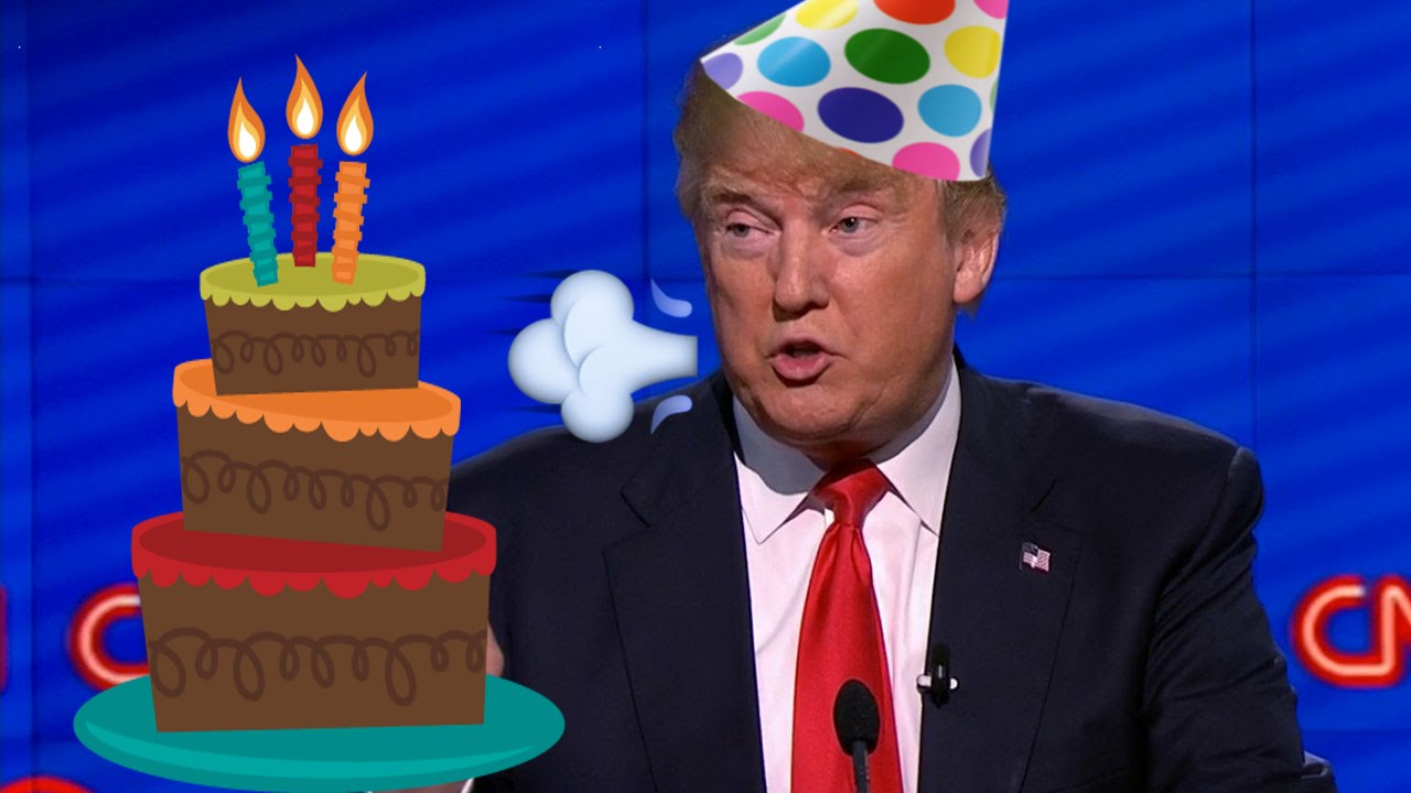 donald trump saying happy birthday ; coover