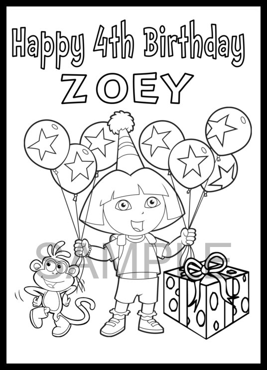dora birthday coloring pages ; 5a9f20c718e67d3530099d9c3bac3813
