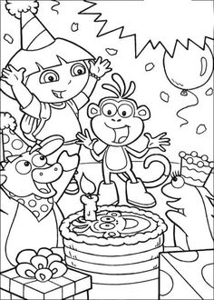 dora birthday coloring pages ; 8714726328182138d9c884bf6c752f86--happy-birthday-cards-dora-the-explorer