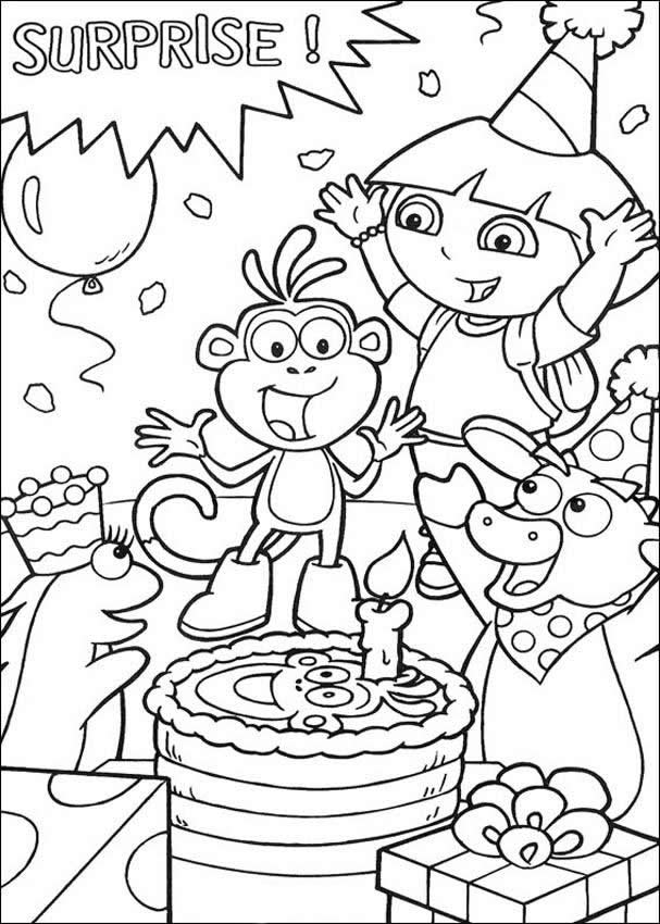 dora birthday coloring pages ; 9da11ec5d8cf678404c369777e5eee3f