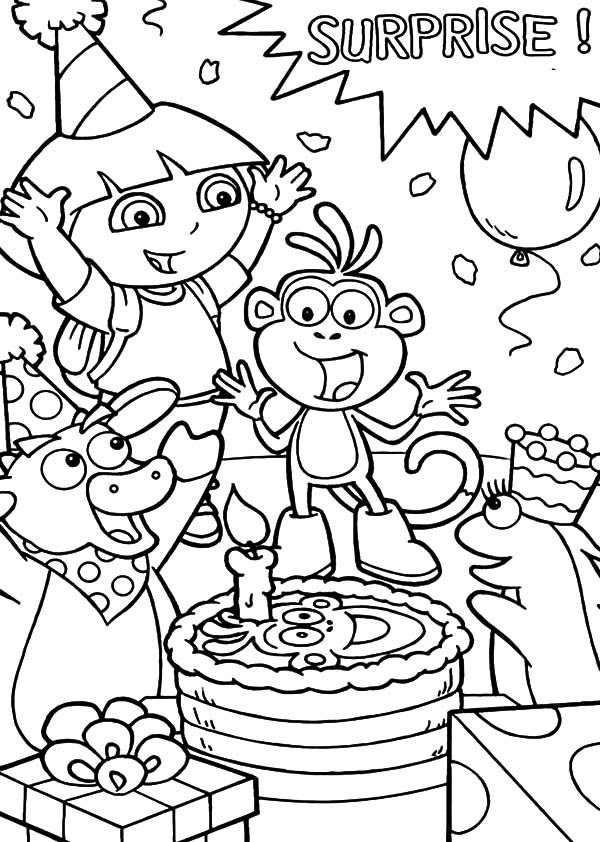 dora birthday coloring pages ; Dora-the-Explorer-Friend-Boots-Surprise-Birthday-Party-Coloring-Pages-600x842