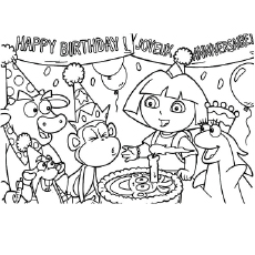dora birthday coloring pages ; The-Dora-Celebrates-Birthday