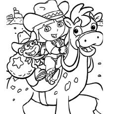 dora birthday coloring pages ; The-Dora-as-a-Cowgirl