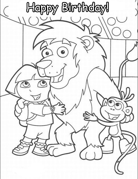 dora birthday coloring pages ; bd-dora6