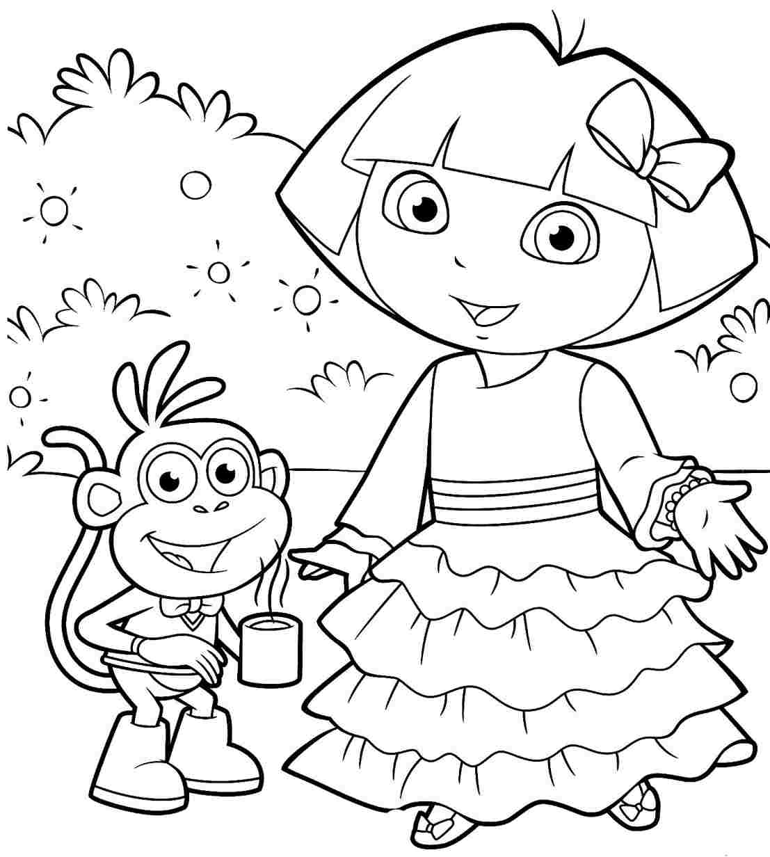 dora birthday coloring pages ; unnamed-file-569