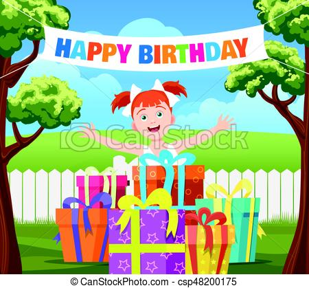 drawing of birthday scene ; backyard-birthday-party-scene-image_csp48200175