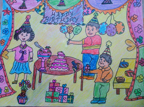 drawing of birthday scene ; birthday-party-scene-for-drawing-bf8a8e06cc7d35a654134f488a9e527f