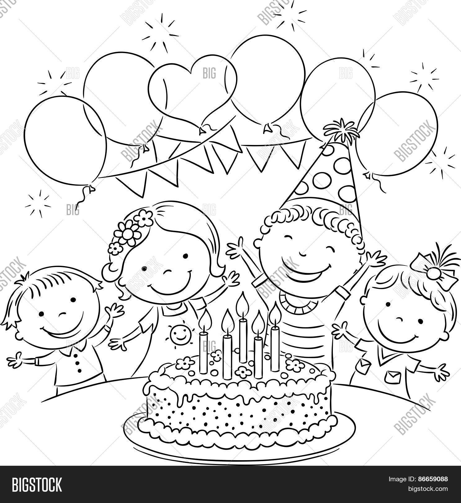 drawing of birthday scene ; birthday-party-scene-for-drawing-kids-birthday-party-outline-stock-vector-stock-photos-bigstock