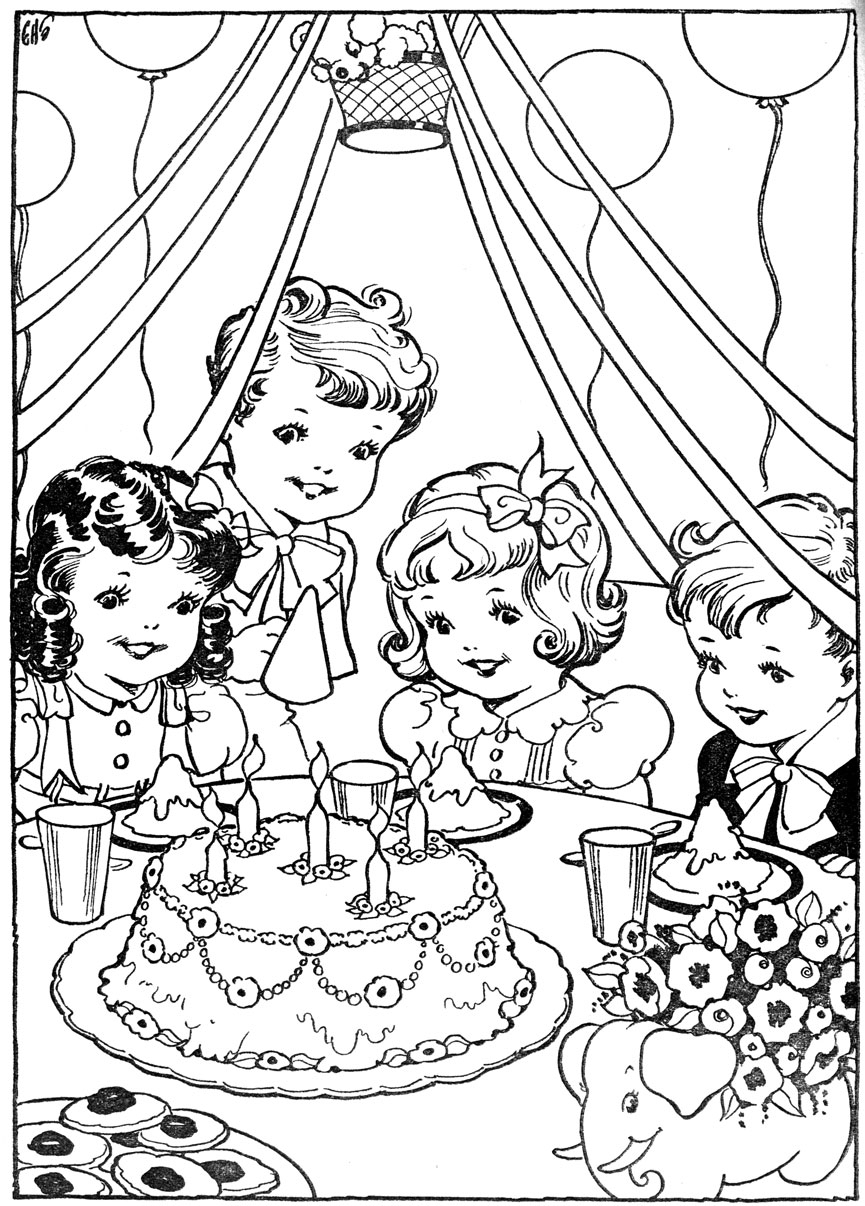 drawing of birthday scene ; birthday-party-scene-for-drawing-vintage-kleurplaat-verjaardag-partijtje-having-fun-at-home