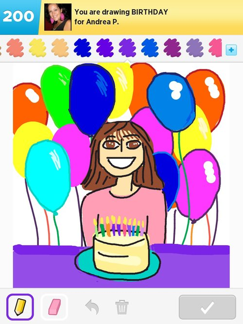 drawing of birthday scene ; birthday