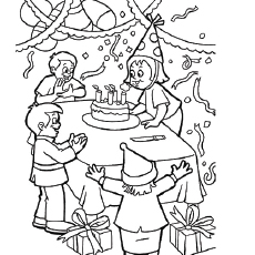 drawing of birthday scene ; drawing-of-birthday-scene-the-birthday-party-coloring-page