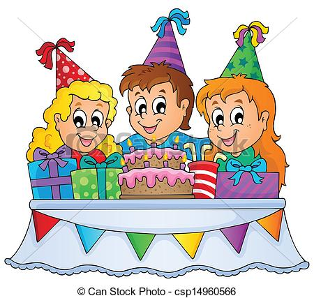 drawing of birthday scene ; kids-party-theme-image-1-clip-art-vector_csp14960566