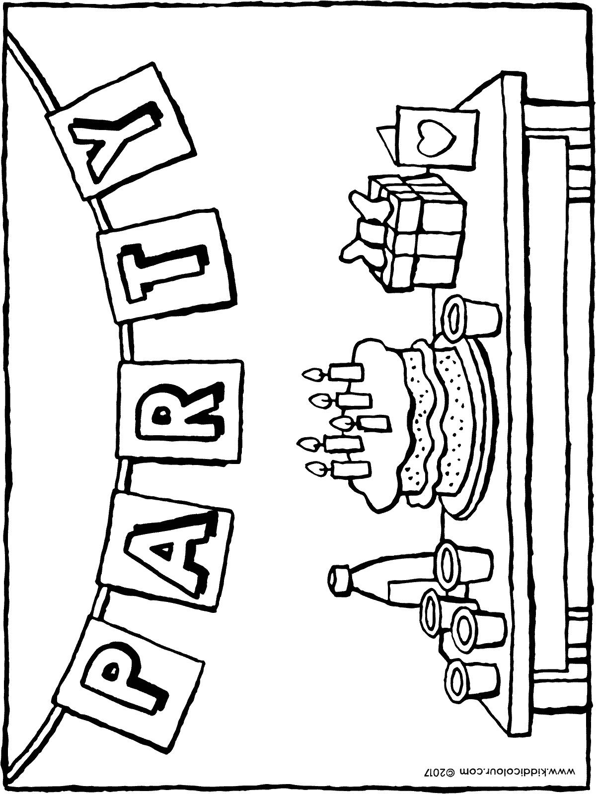 drawing of my birthday party ; are-you-coming-to-my-birthday-party-colouring-page-01H