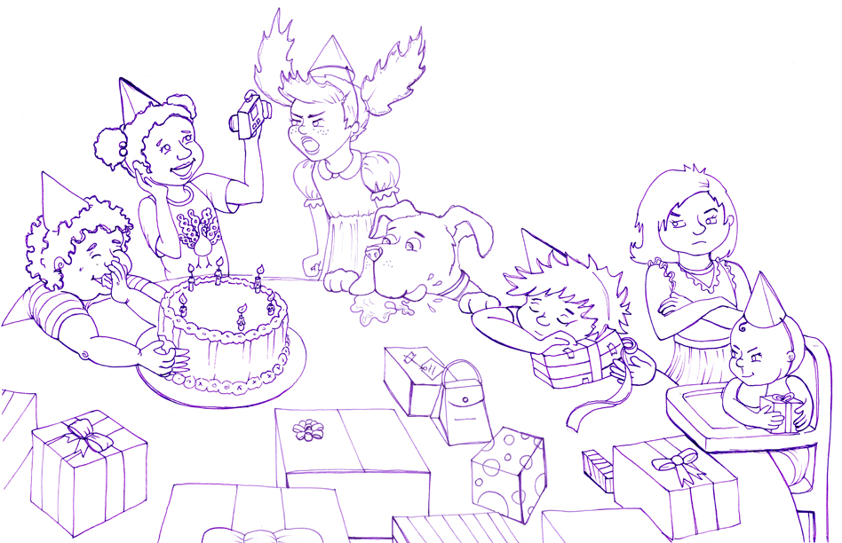 drawing of my birthday party ; sevensinsbirthdaylineforweb