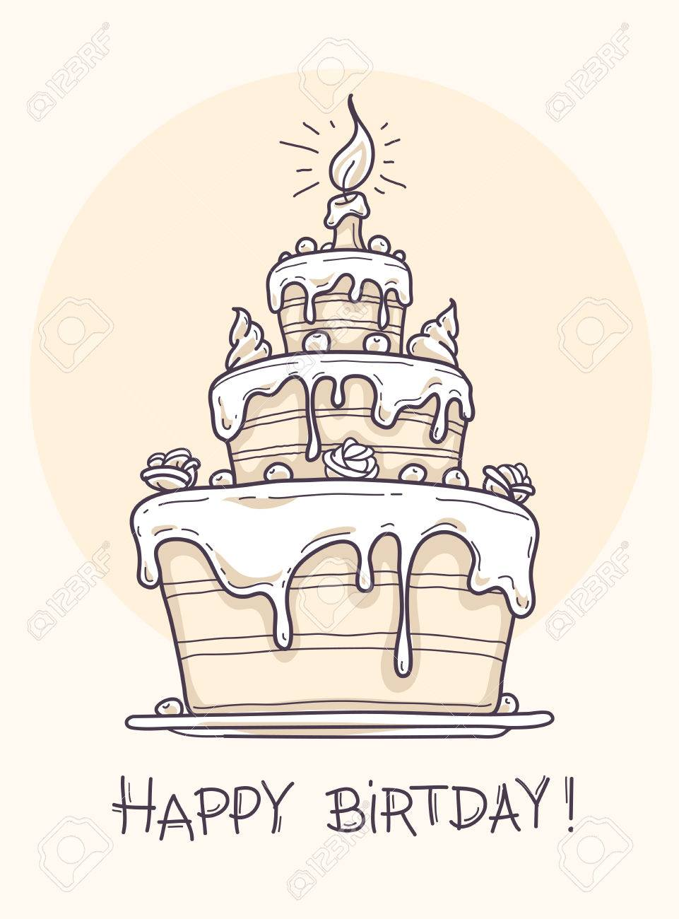 drawings for a birthday ; 52450947-greeting-card-with-big-birthday-cake-contour-drawing-vector-illustration