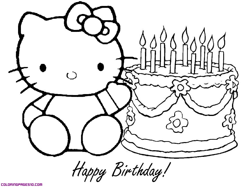 drawings for a birthday ; Hello-Kitty-Birthday