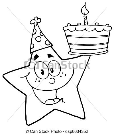 drawings for a birthday ; outline-happy-star-illustration_csp8834352