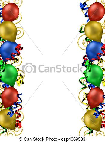 drawings of birthday balloons ; birthday-balloons-border-drawings_csp4069533