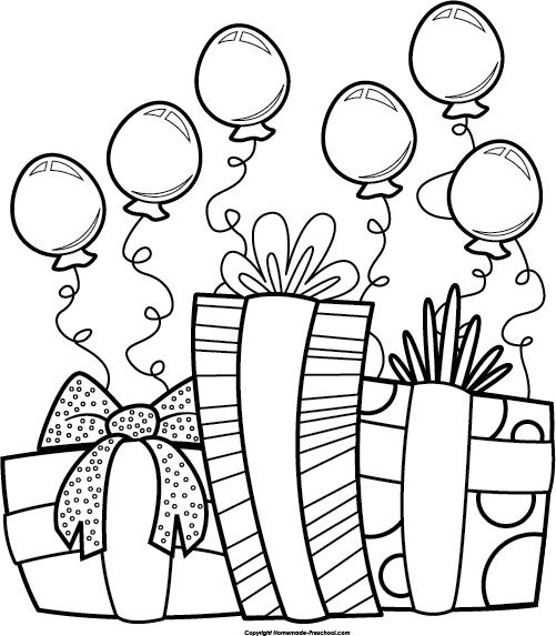 drawings of birthday balloons ; birthday-presents-bw