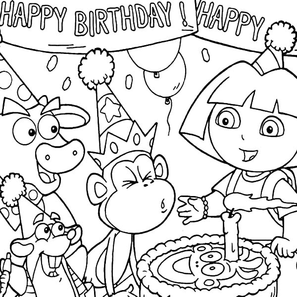 easy drawing of birthday party ; Boots-Blowing-Birthday-Cake-Candle-at-Birthday-Party-Coloring-Pages