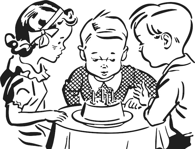 easy drawing of birthday party ; Kids-Birthday-Party-Retro